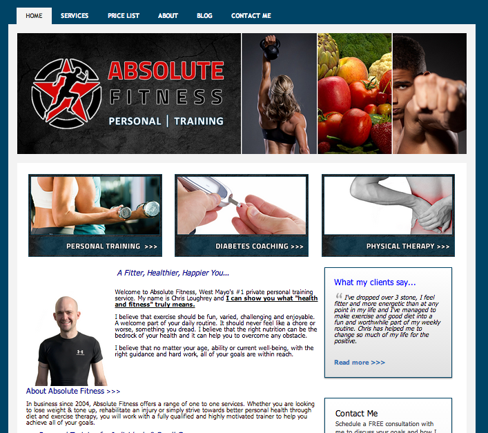 Absolute Fitness personal trainer website