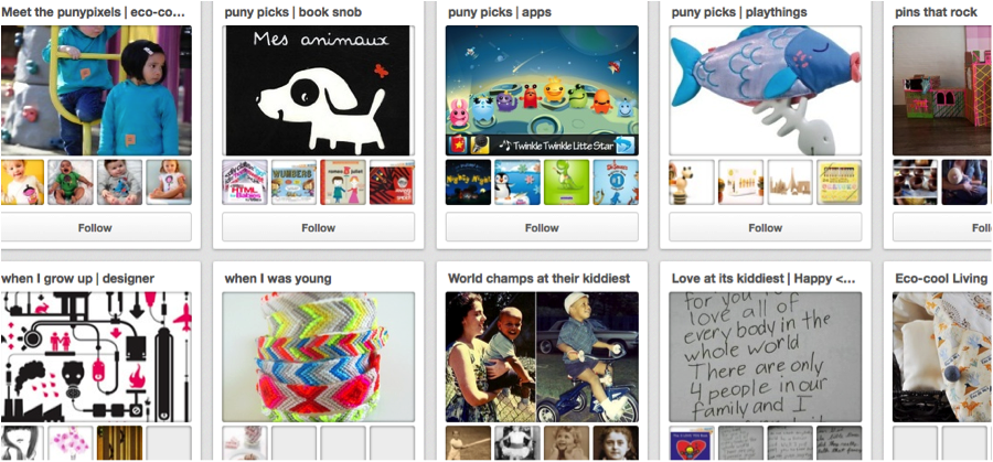 Yola user Puny Pixel offers followers fun, cohesive pinboards to explore.