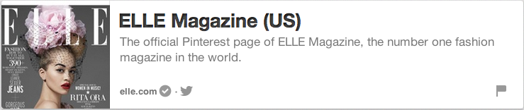 Elle has verified its website, plus displays its URL prominently in its business description.
