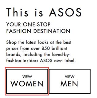 Asos.com Homepage CTA.