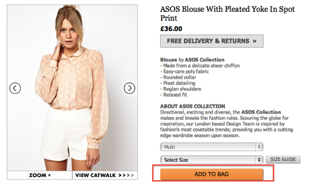 ASOS Product Page CTA