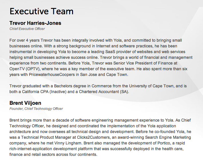 Yola Executive Team Bio