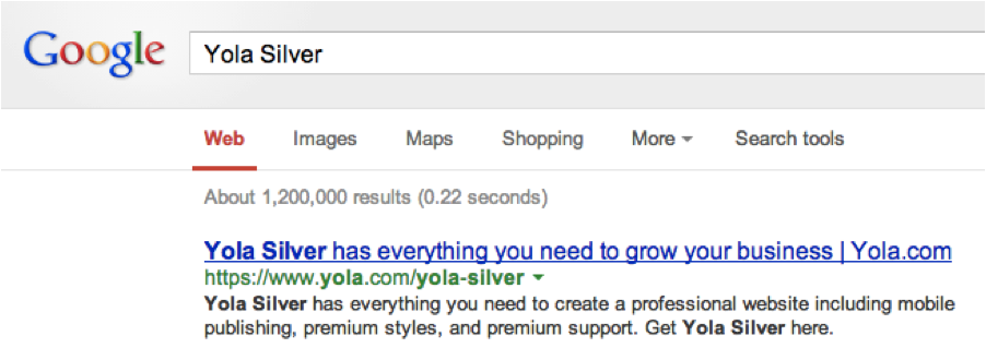 Yola Silver Google Search Screen Shot