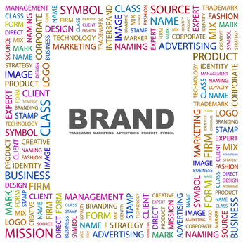 BRAND. Collage with association terms on white background.