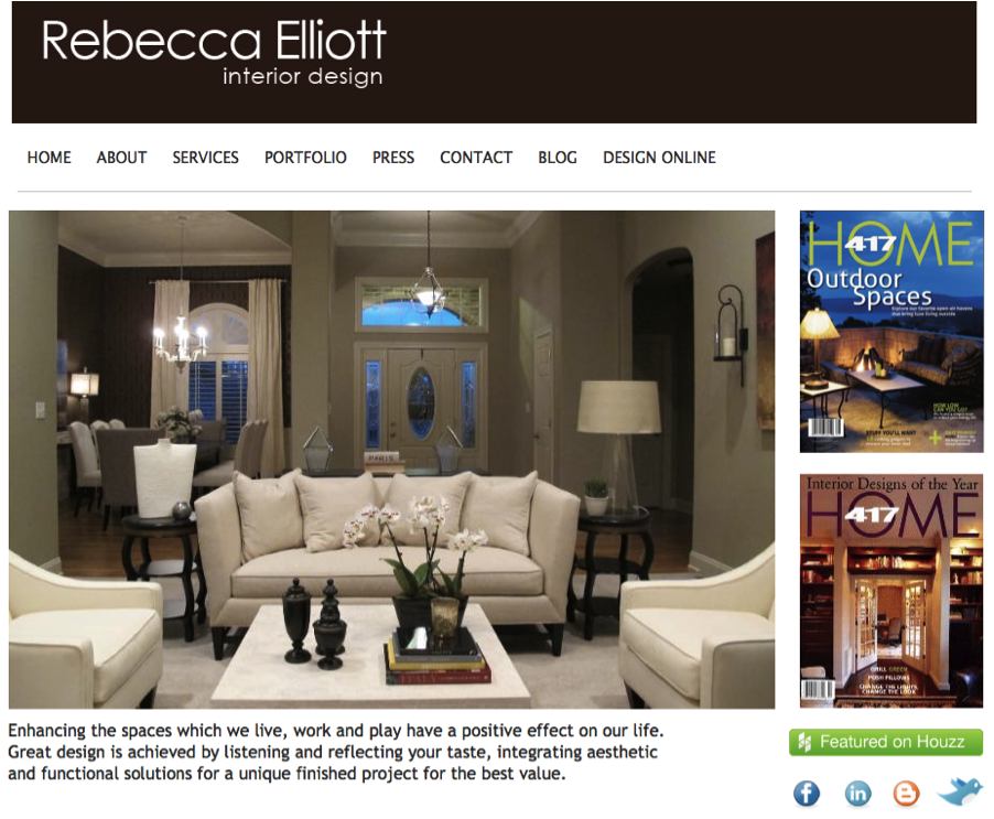 Rebecca Elliott Homepage Make Your Website  Interior Design Yola