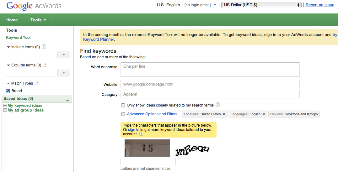 Google Keyword Tool Screen Shot
