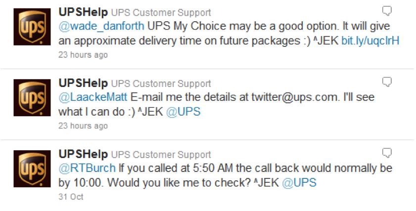 UPS Help on Twitter