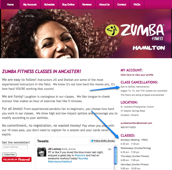 Zumba Fitness Hamilton - Class Schedules and Cancellations