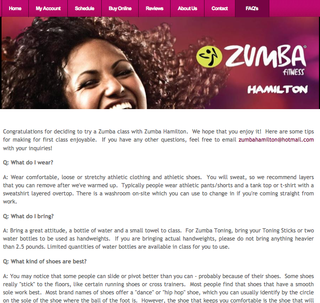 Zumba Fitness Hamilton - FAQ