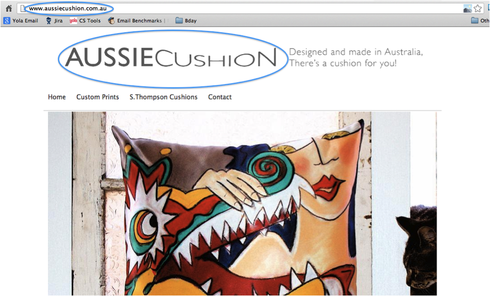 Aussie Cushion uses their business name in their logo/website title and also in their URL.