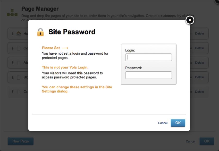 Build your website - Add login info