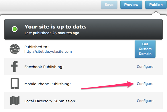Configure mobile phone publishing