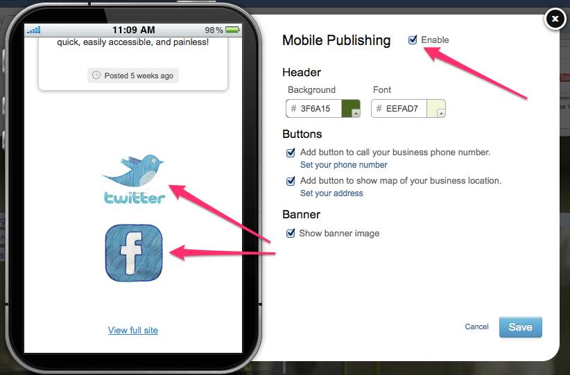 Enable Mobile Publishing