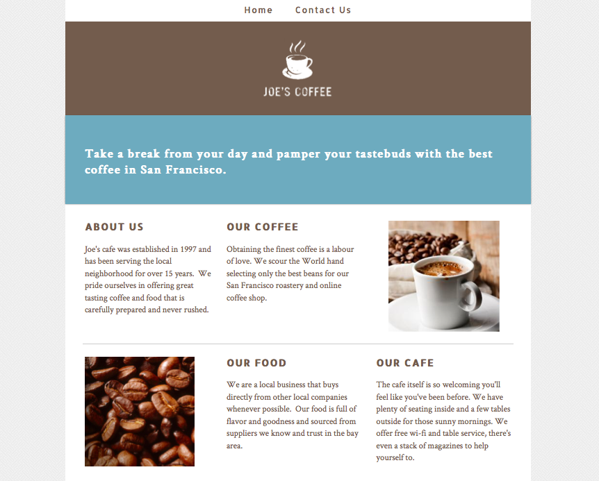 Joes Coffee website