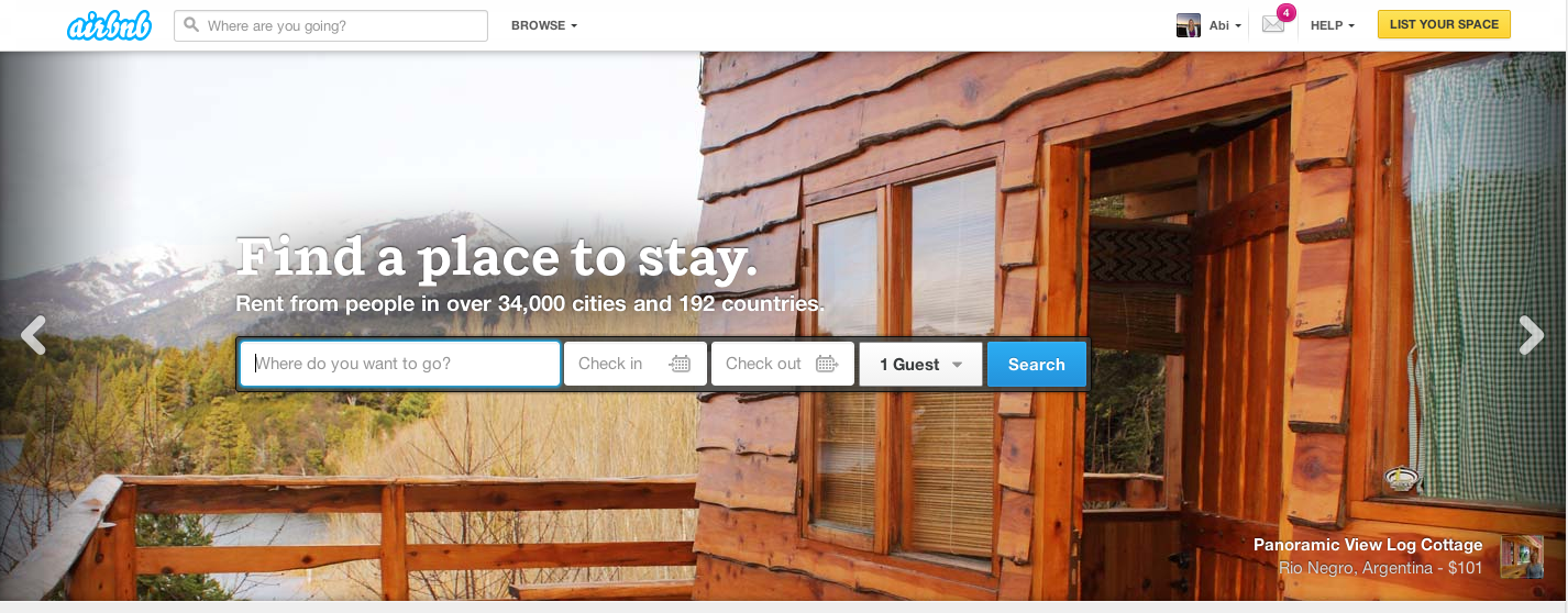 Visual Content Airbnb Homepage