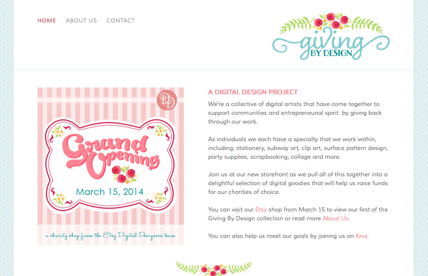 Giving By Design keeps a professional look and feel by tying consistent graphics throughout their page.