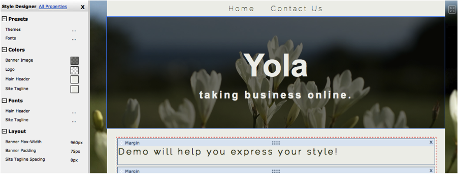 Adding a page heading on Yola