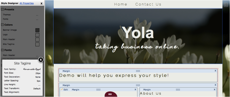 Changing fonts on Yola