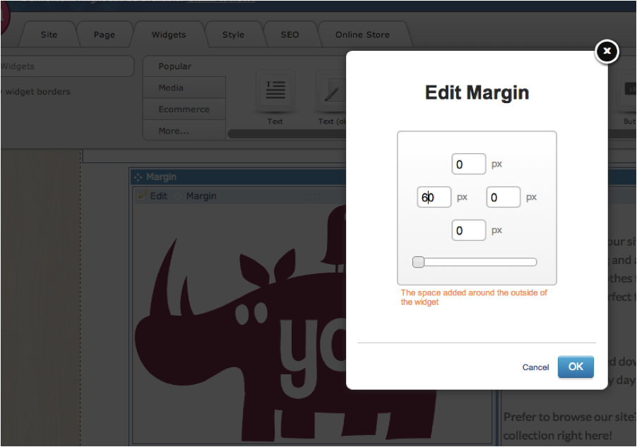 Add margin to your widgets
