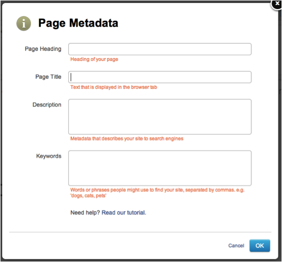 Adding Metadata on Yola