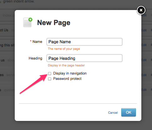 Removing your page from your navigation on Yola