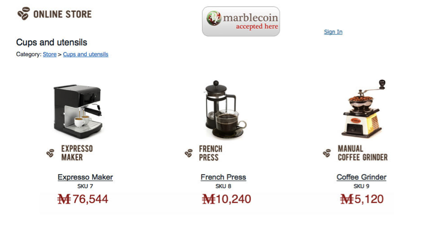 MarbleCoin on the Yola Online Store