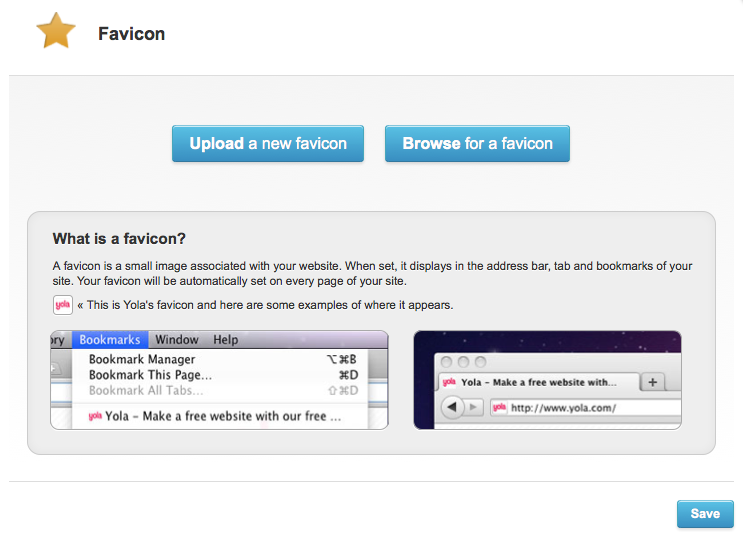 Upload your new favicon to Yola