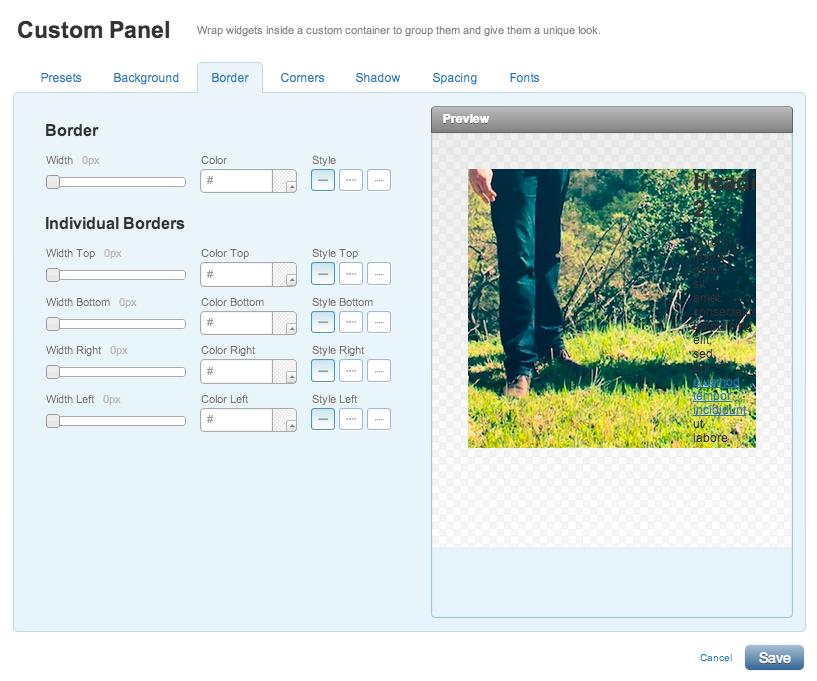 Adjusting your custom panel widget in Yola