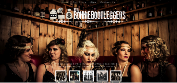 Website with the title 'The Bonnie Bootleggers'