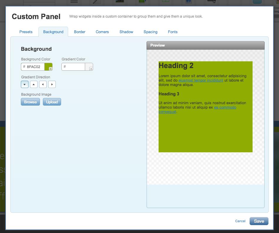 Background of your custom panel widget