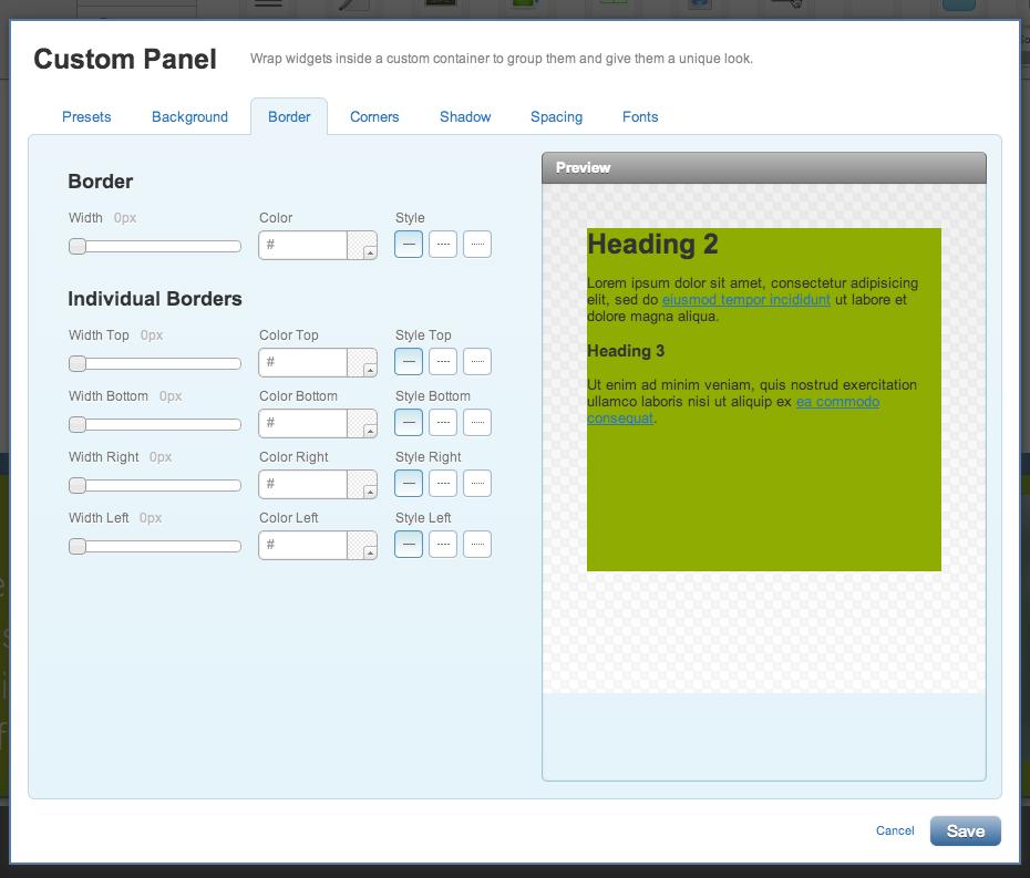 Removing the border on your custom panel widget