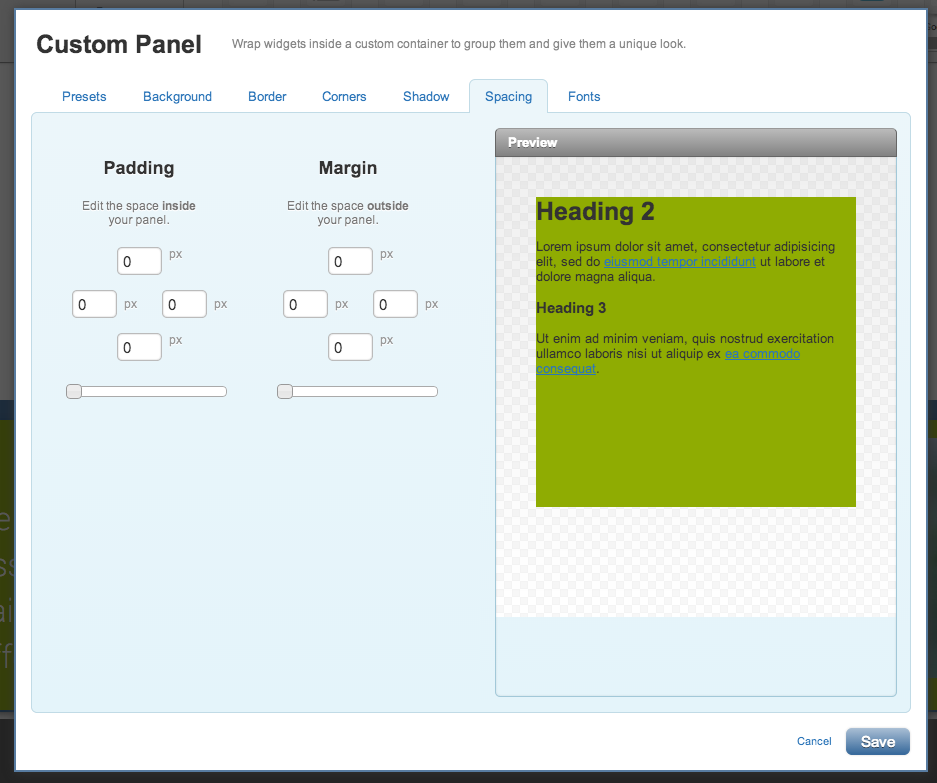 Changing the spacing on your custom panel widget
