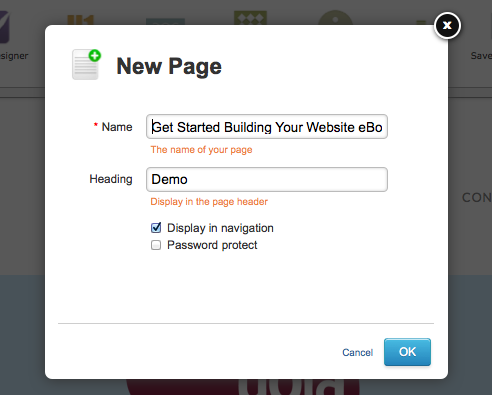 Adding a new page in Yola Sitebuilder