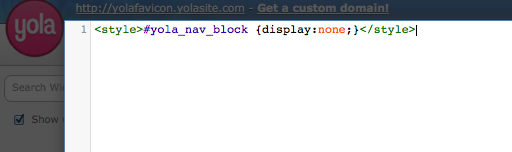 Removing the site navigation from your Yola site