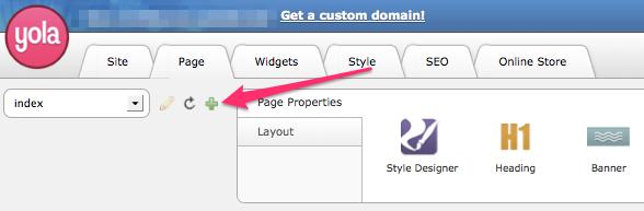 Add a new page in Yola Sitebuilder