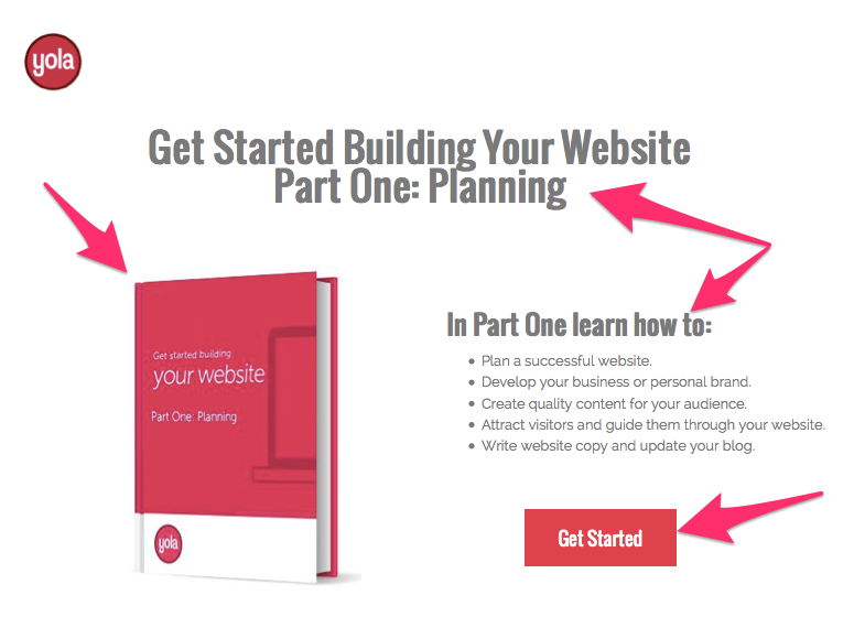 Creating a landing page with Yola
