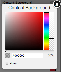Selecting a content background color with Yola