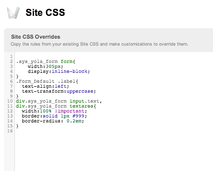 Editing your site's CSS with Yola