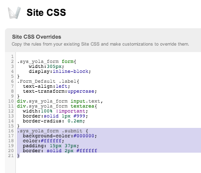 Adding CSS to Yola
