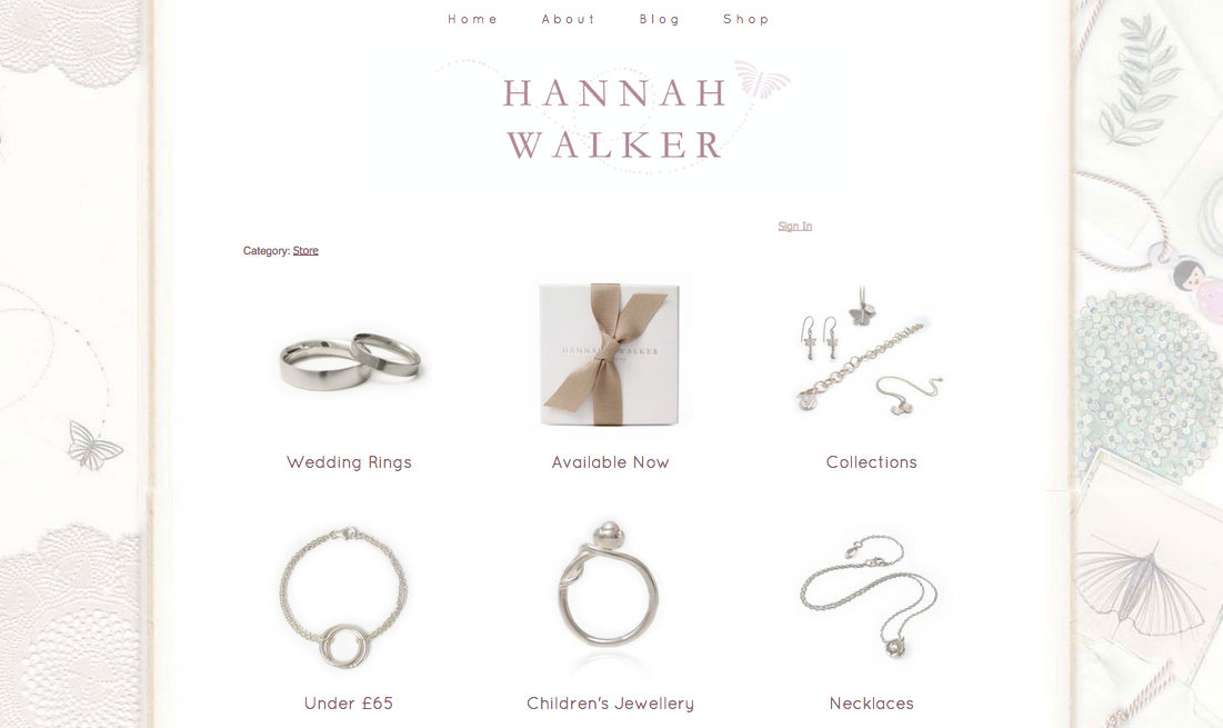 Hannah Walker jewellery Navigation