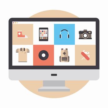 Online store flat illustration
