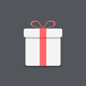 white gift box icon on dark background
