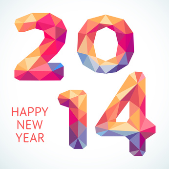 Happy New Year colorful greeting card made in polygonal